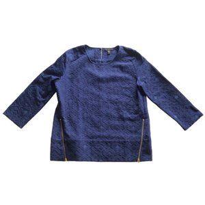 J. Crew Matelasse Zip 3/4 Sleeve Top Blue Size 4